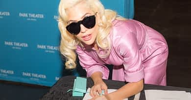 Lady Gaga signs the contract, finalizing her two-year engagement at Park MGM beginning in December 2018