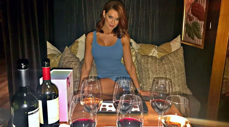 Jessa Hinton with HEXX wine and chocolate